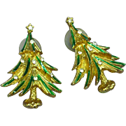 Don-Lin Signed Christmas Tree Rhinestone Vintage Enamel Pierced Earrings