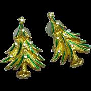 Don-Lin Signed Christmas Tree Rhinestone Vintage Enamel Pierced Earrings