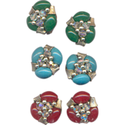 Vintage 3 Pairs of Japan Plastic Beaded Clip on Earrings in Green, Blue, and Red