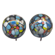 Vintage Multi Color Glass Clip on Earrings
