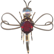 Vintage Sterling and Red Dragonfly Furclip