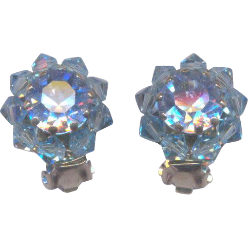 Vintage Made in Austria Blue Clip on Earrings