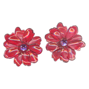 Vintage Red Cellulose Acetate Clip on Earrings