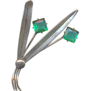 Vintage Sterling and Green Rhinestone Brooch