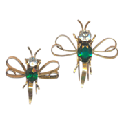 Vintage Sterling and Green Dragonfly Fur Clips