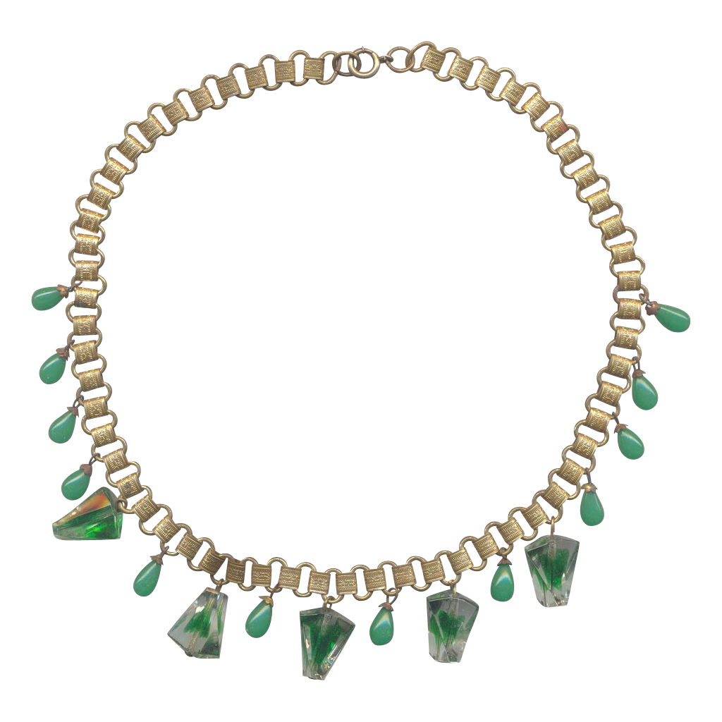 Vintage Brass and Peking Glass Bookchain Necklace with Green Glass Baubles
