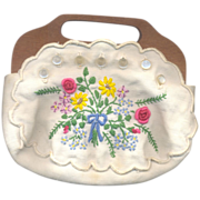 Vintage Hand Embroidered Bermuda Style purse with Removable cover