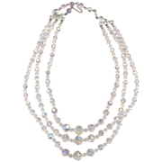Vintage 3 Strand Crystal Glass Necklace