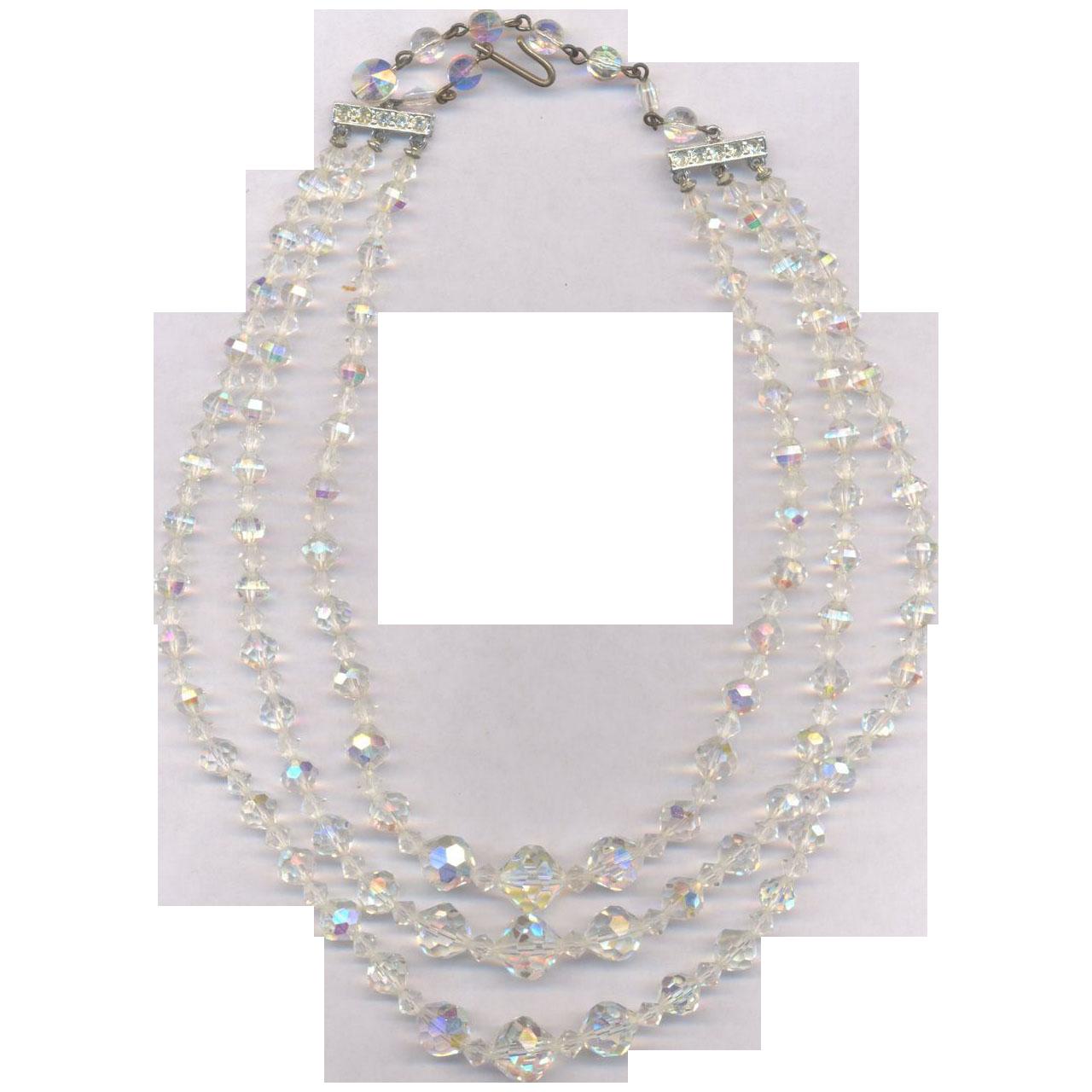 Vintage 3 Strand Crystal Glass Necklace