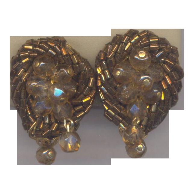 Vintage Bronze Beaded Clip on Earrings