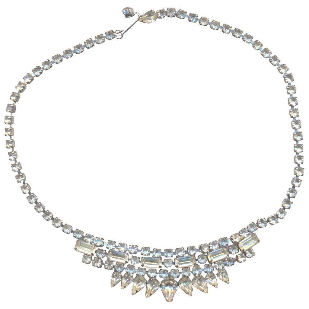 Vintage Weiss Rhinestone Sparkling Necklace