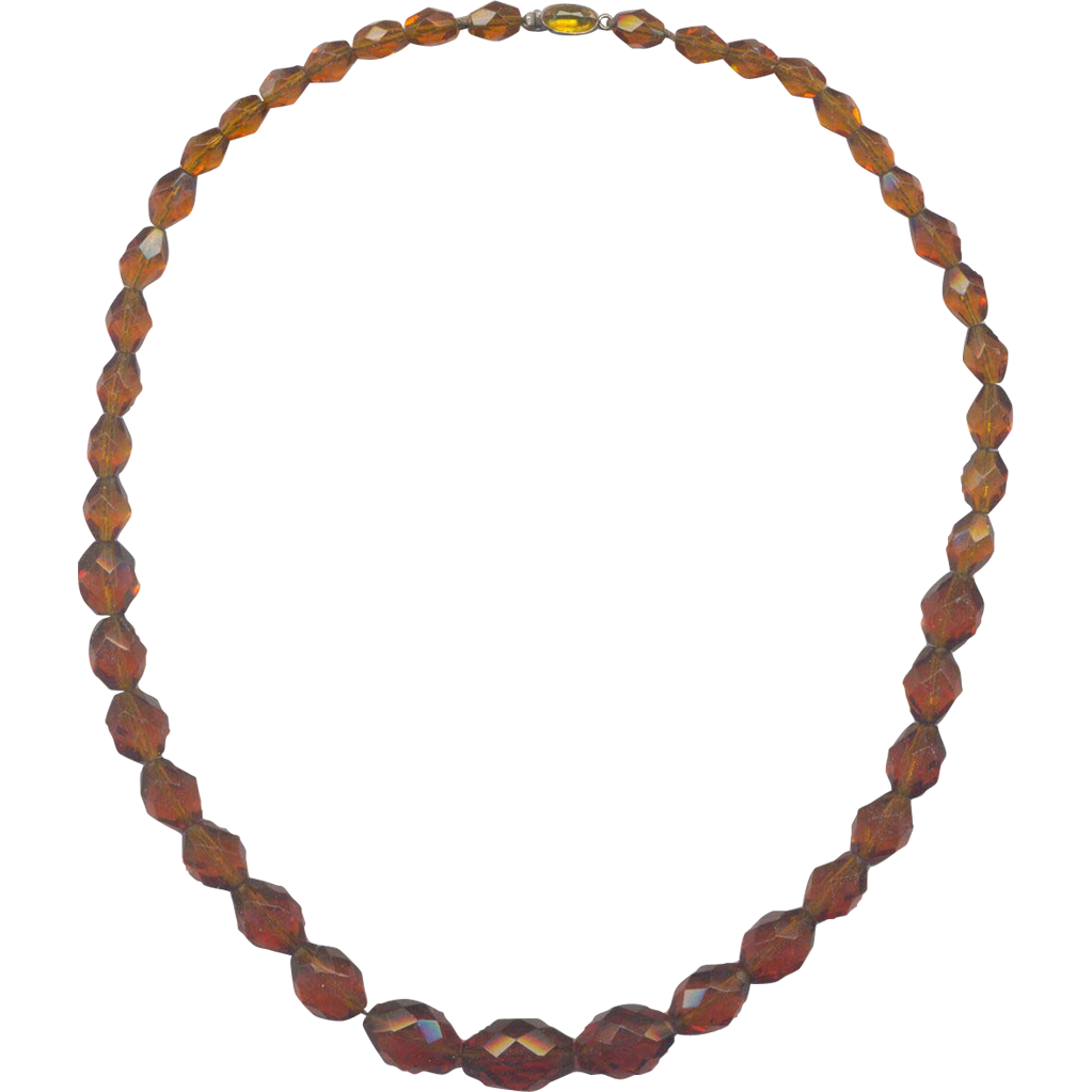 Vintage Czechoslovakia Amber Color Faceted Glass Necklace