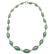 Vintage Green Lampwork Glass Beaded Necklace