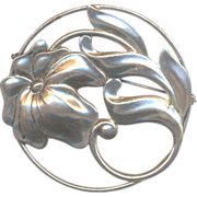 Vintage Large Sterling Flower Brooch