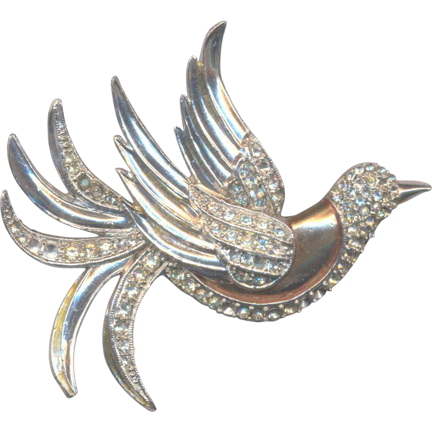 Vintage Deco Rhinestone Bird Brooch