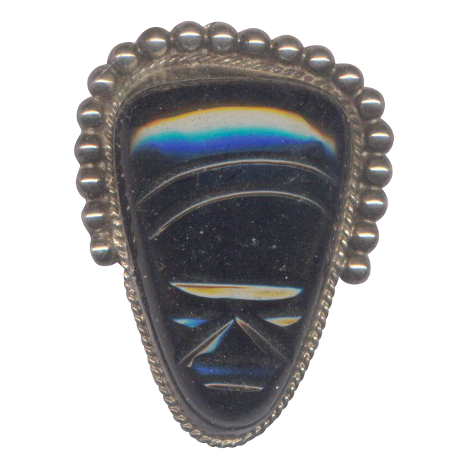Vintage Diaz Santoyo Mexican Sterling with Onyx Mask Brooch