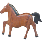 Vintage Carved Wooden Horse Brooch