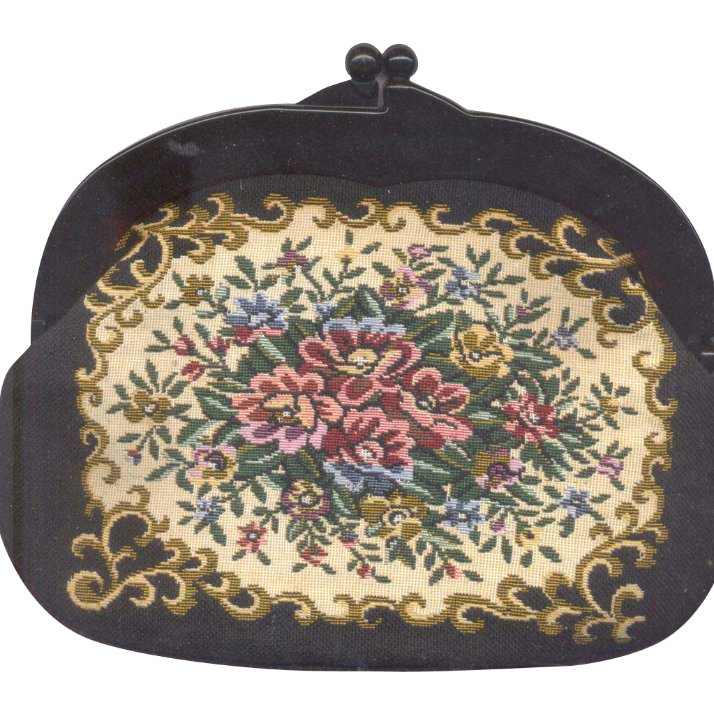 Vintage Japan Tapestry Handbag with Lucite Frame