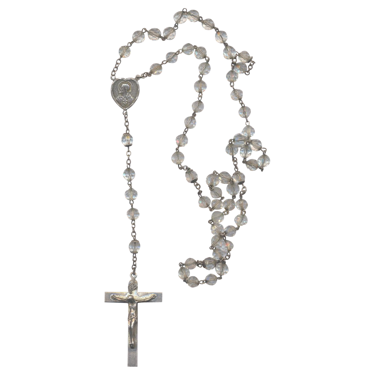Vintage Sterling and Crystal Rosary with Crucifix