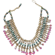 Vintage Glass Beaded Collar Necklace