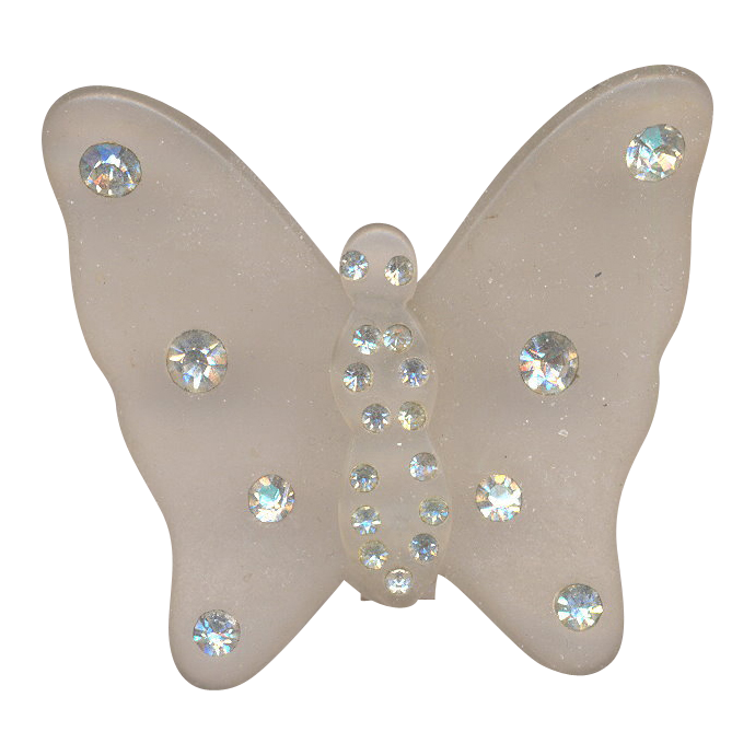 Vintage Frosted Lucite Butterfly Brooch with Rhinestones