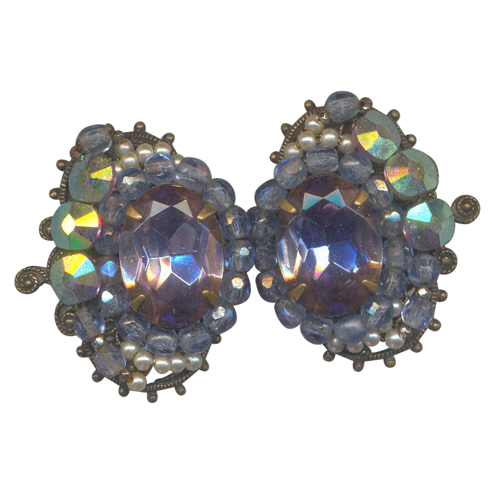 Vintage Beautiful Effects Clip on Earrings