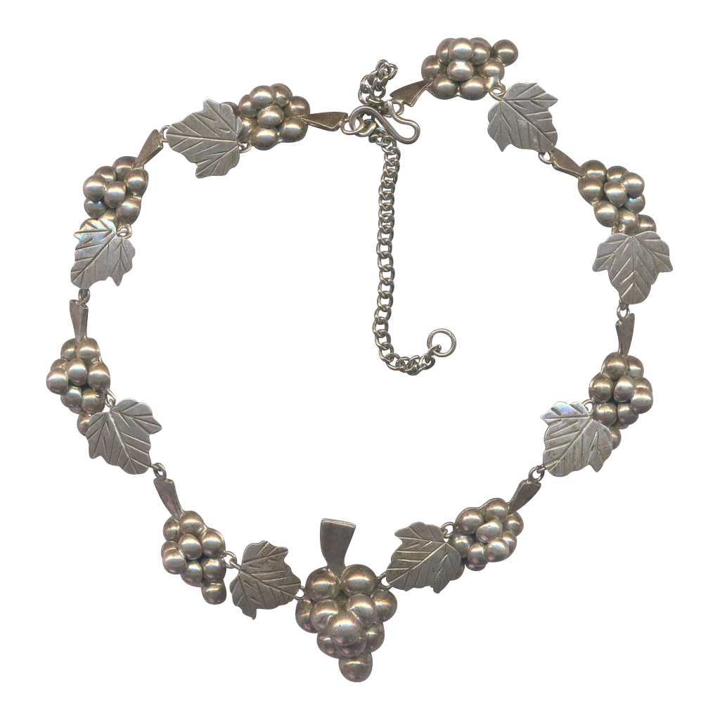 Vintage  Mexican Grapes Sterling Necklace