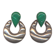 Vintage Large Mexican Sterling and Malachite Vintage Pierced Earrings