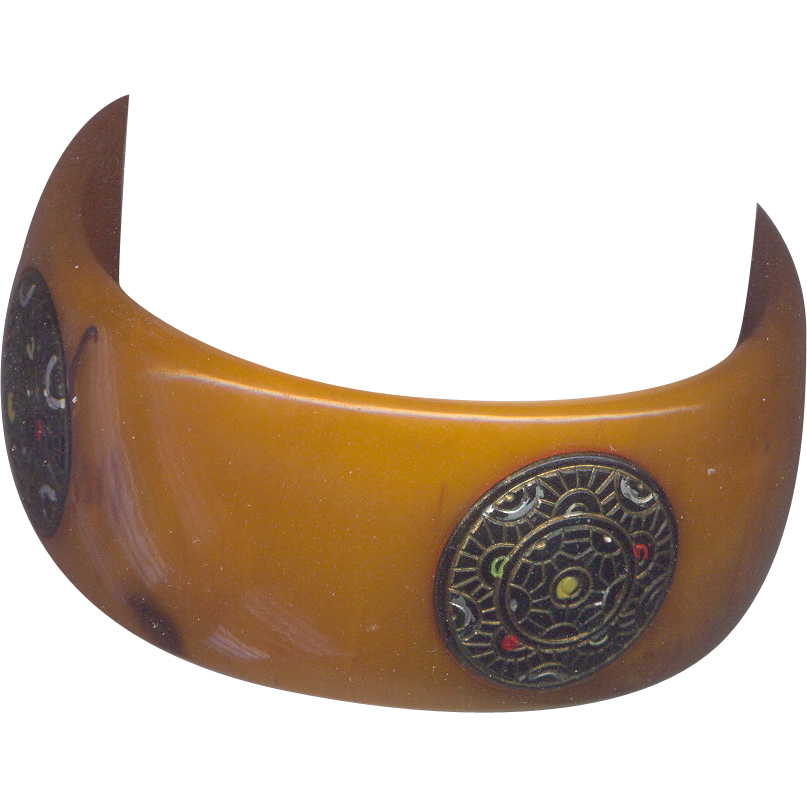 Vintage  Butterscotch Bakelite Bangle Bracelet with Insets