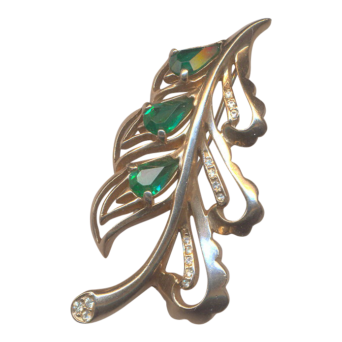 Vintage REJA Emerald Green and Rhinestone Brooch