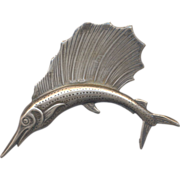 Vintage Sterling Fish Brooch