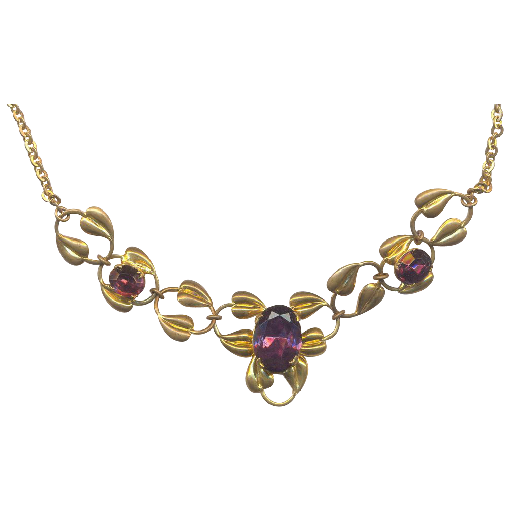 Vintage 1950's Necklace with Purple Rhinestones