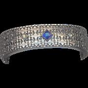 Vintage  Wide Deco Bracelet with Sapphire Blue Stone