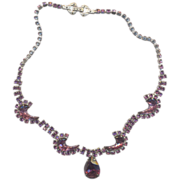 Vintage  Sparkling Purple Rhinestone Necklace