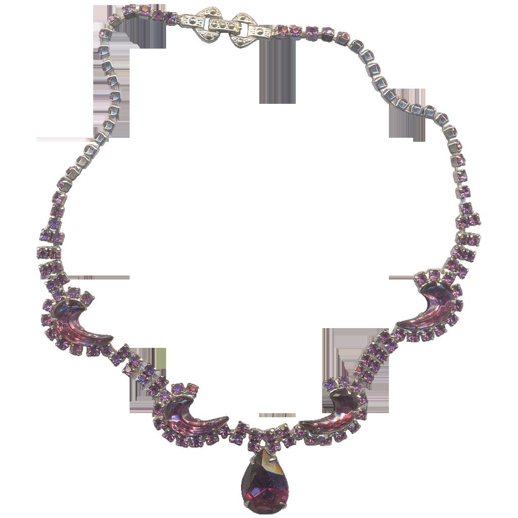 Vintage  Sparkling Purple Rhinestone Necklace
