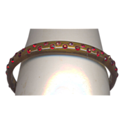 Vintage Applejuice Celluloid Bangle with Red Rhinestones