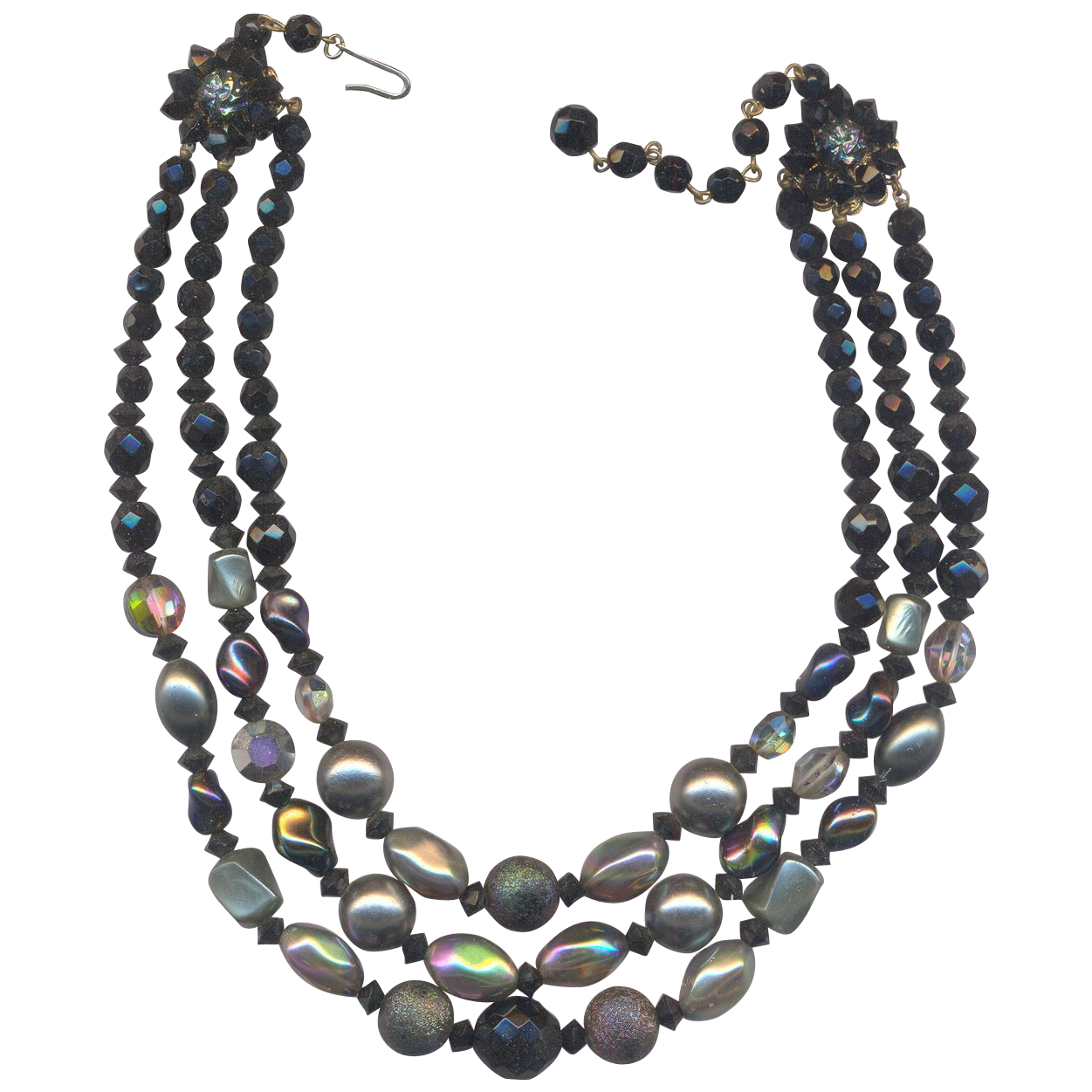 3 Strand Black and Gray Glass Beaded Necklace