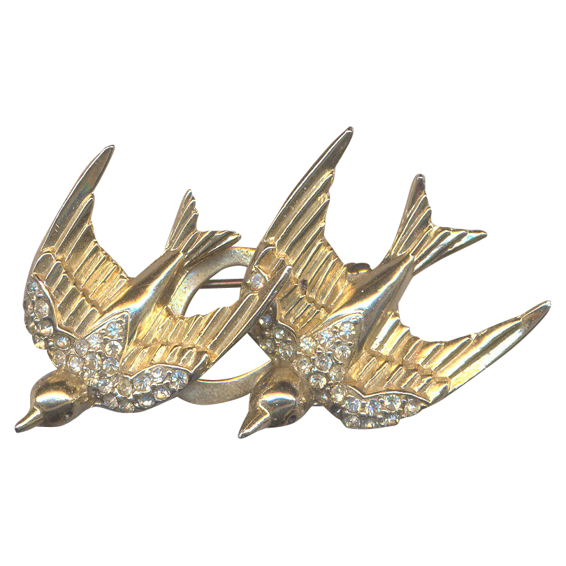 Vintage CORO Swallows Duette Brooch and Clips