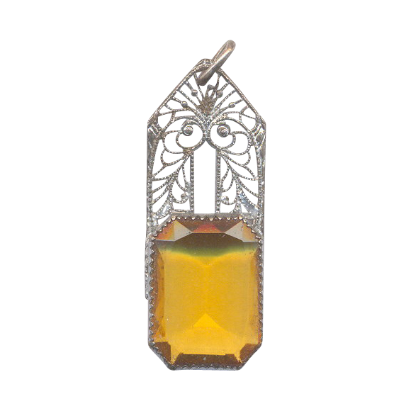 Sterling and Citrine Color Glass Stone Pendant
