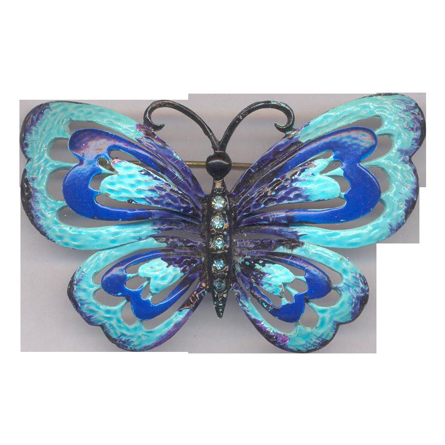 Large Vintage Hedy Enamel Butterfly Brooch