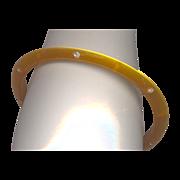 Vintage Plastic with Rhinestones Bangle Bracelet