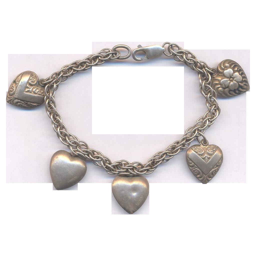 40's Puffy Heart Sterling Bracelet