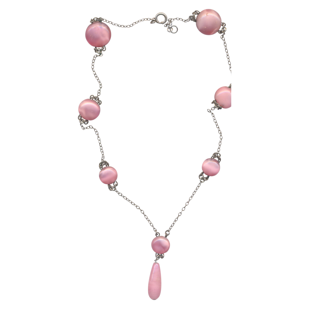 Deco Pink Satin Glass Necklace
