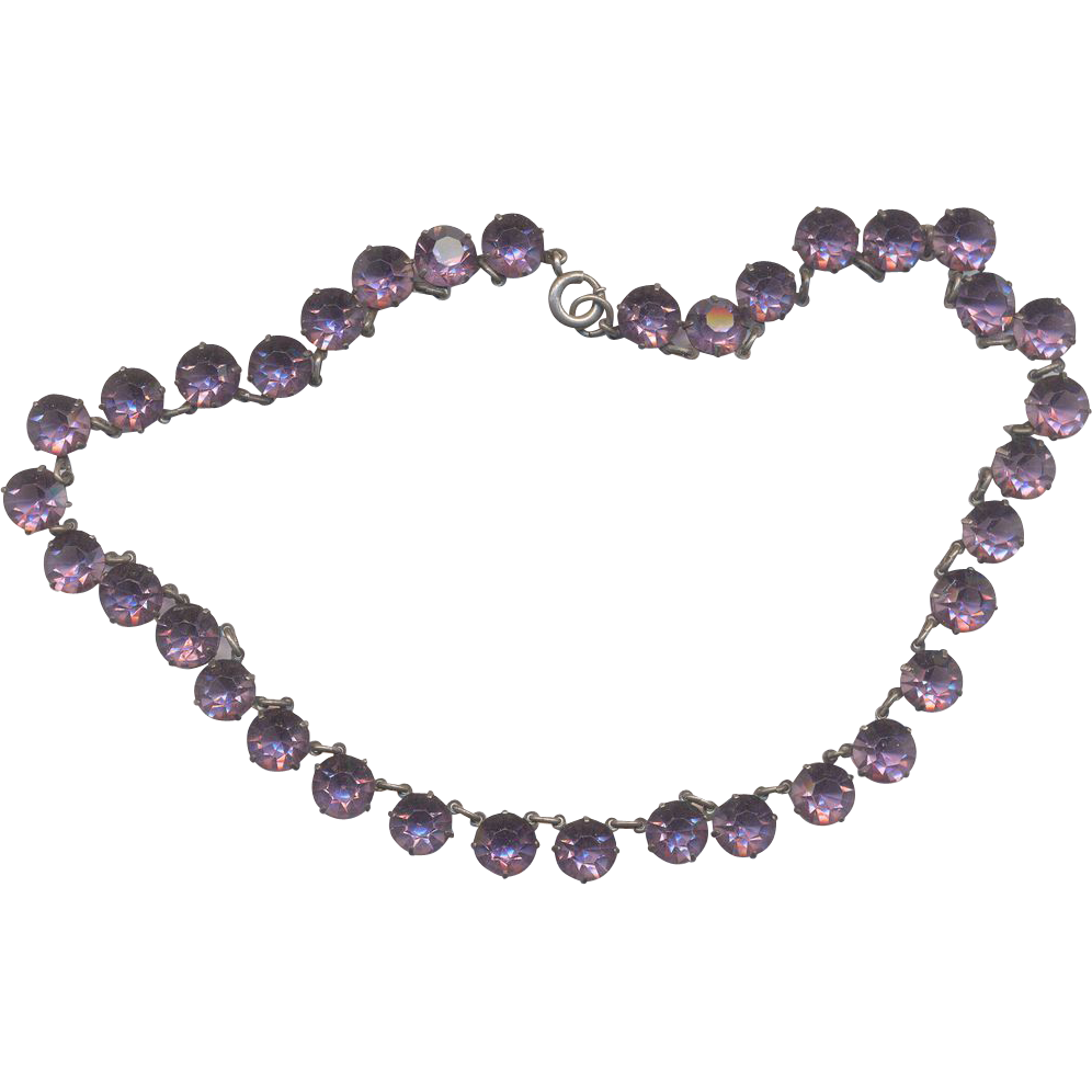 Vintage Deco Amethyst color Rhinestone Necklace