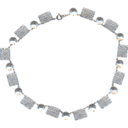 Deco Silver tone with Rhinestones Necklace