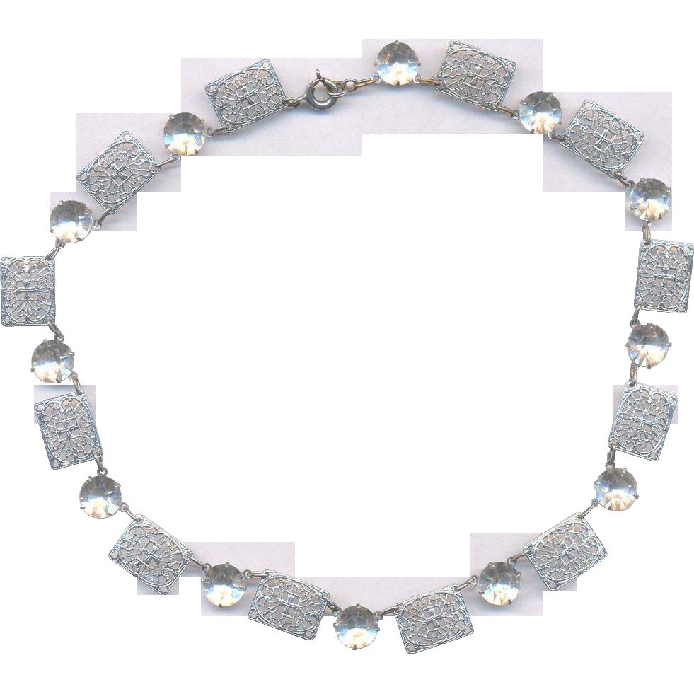 Deco Silver tone with Rhinestones Necklace