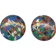 Vintage  Confetti Clip on Earrings Multicolor