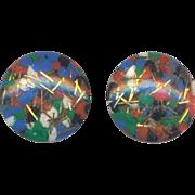 Vintage  Confetti Clip on Earrings Multicolor