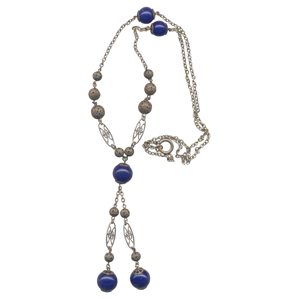 Silver tone Cobalt Blue Vintage y necklace