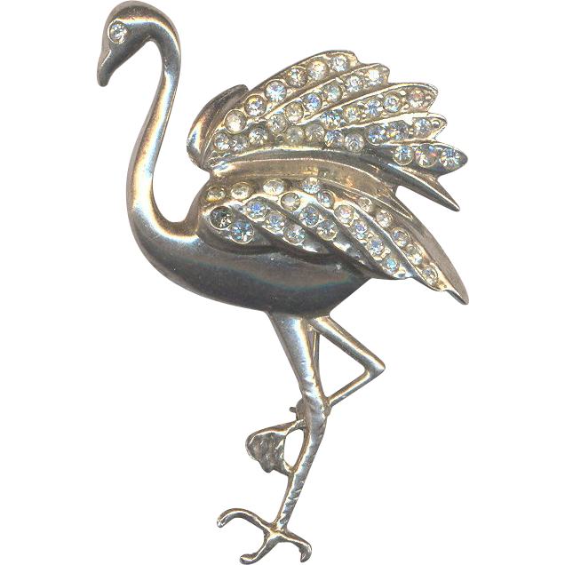 Sterling Flamingo Brooch